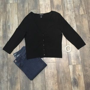 WHBM Black cardigan 3/4 length sleeves size large